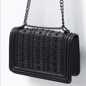 Zara Studded Leather Crossbody Chain Bag